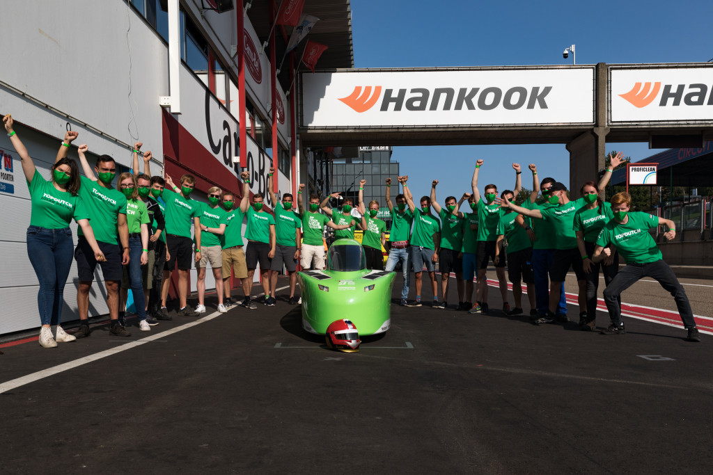 Top Dutch Solar Racing team celebrating the third place price from the European Solar Challenge